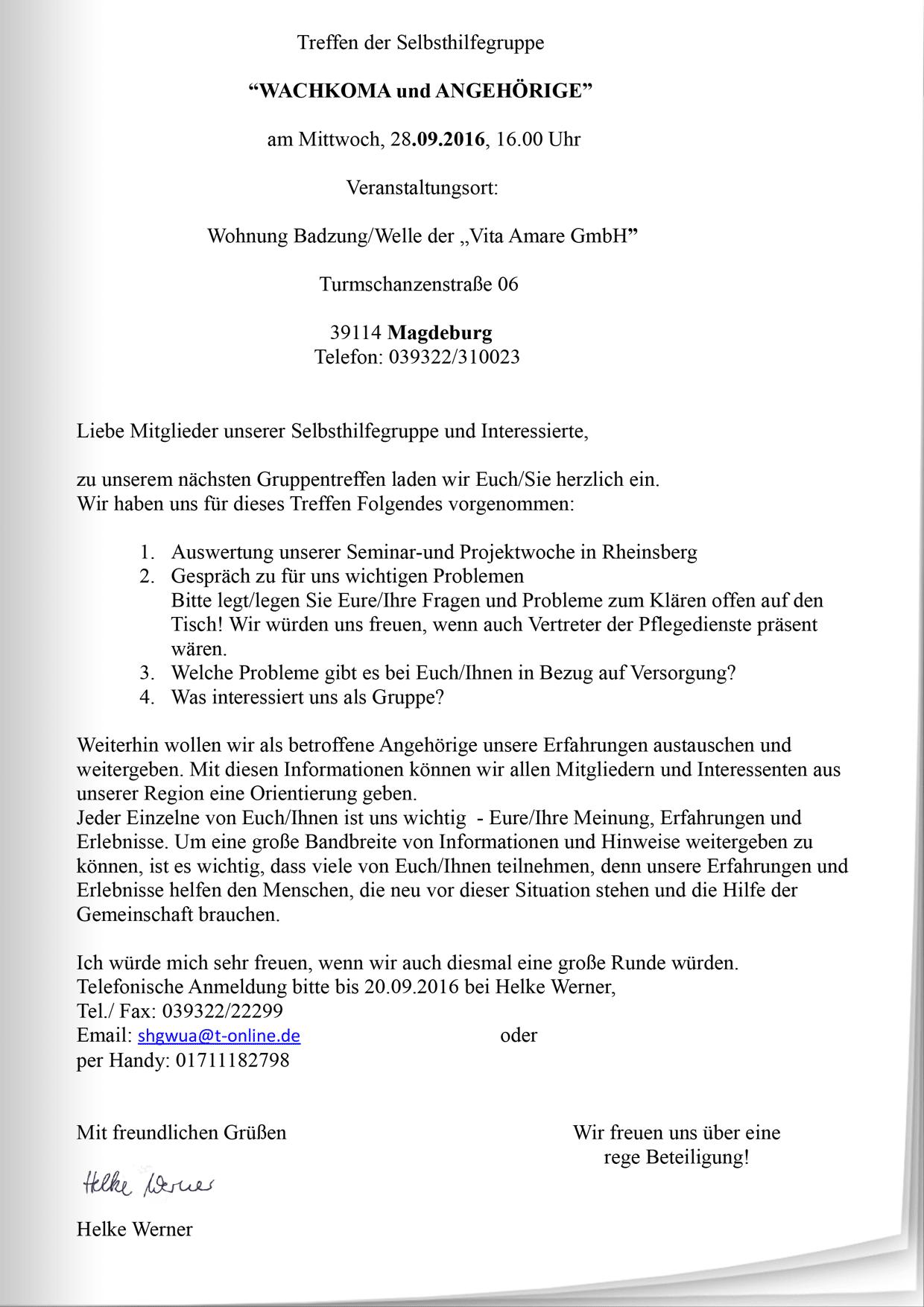 """einladung zum treffen der selbsthilfegruppe """"wachkoma und, Einladung"""