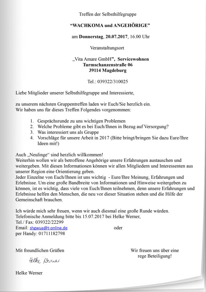 """einladung zum treffen der selbsthilfegruppe """"wachkoma & angehörige, Einladung"""