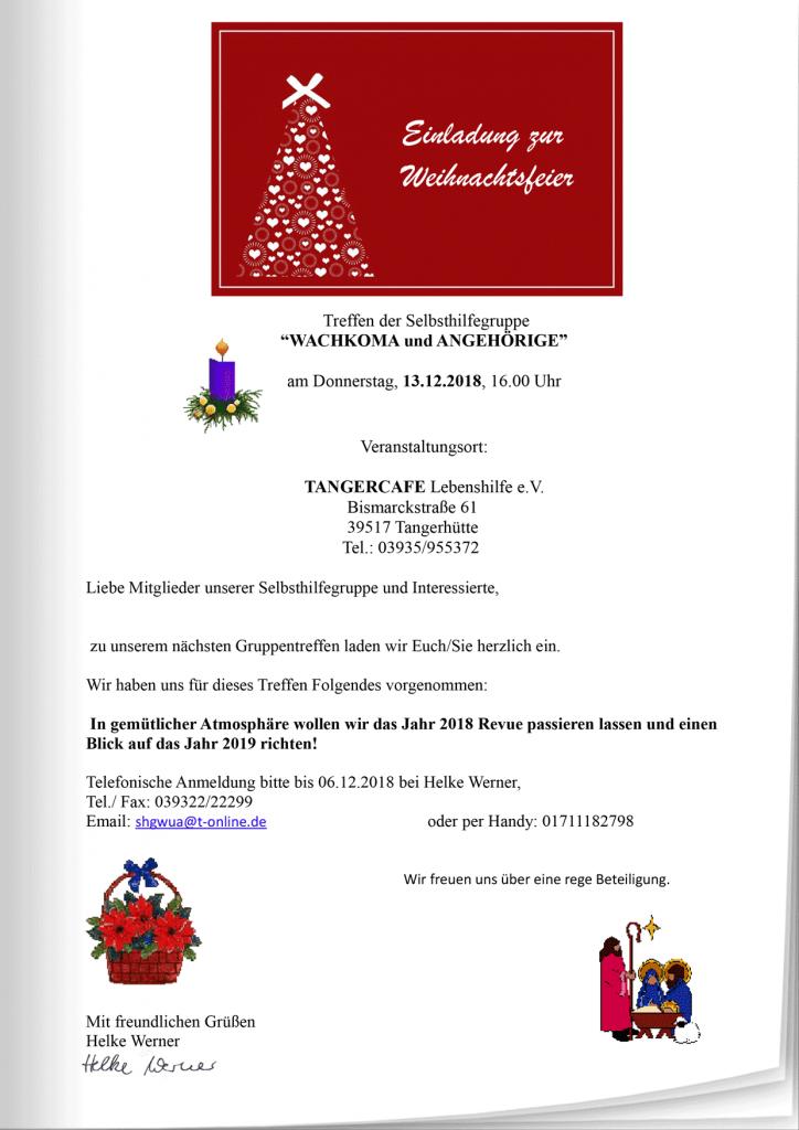 Einladung Zur Weihnachtsfeier.Einladung Zur Weihnachtsfeier Der Selbsthilfegruppe