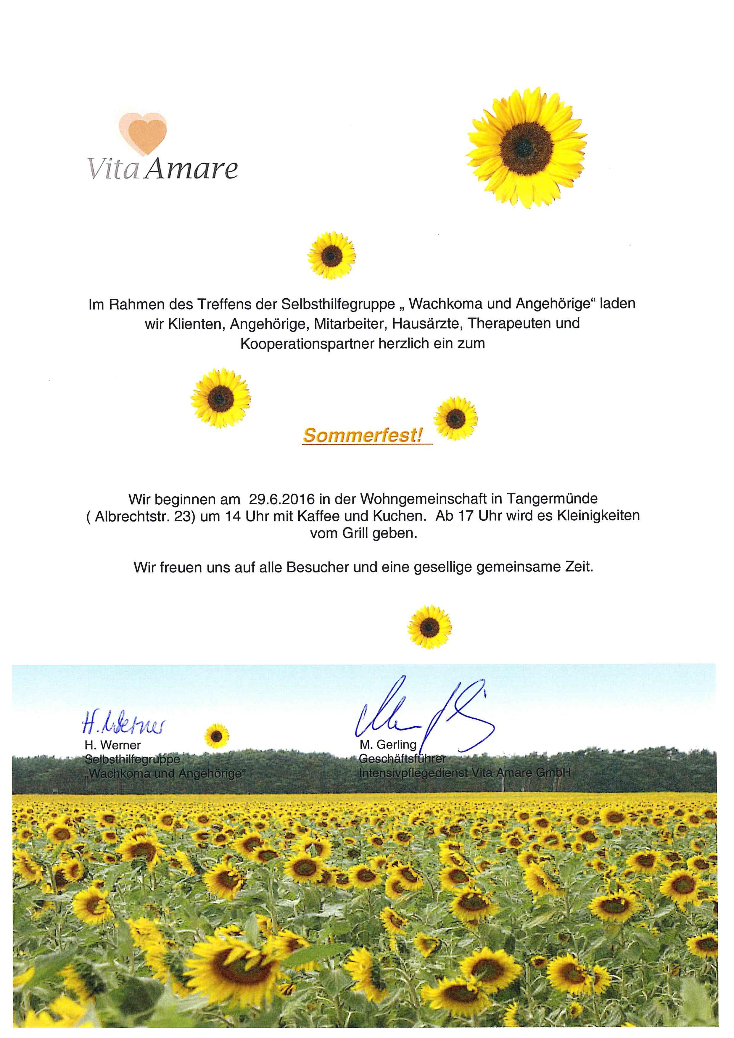 """einladung zum sommerfest der selbsthilfegruppe """"wachkoma, Einladung"""